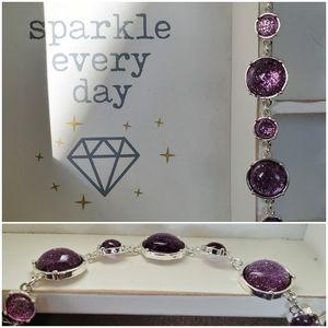 Purple/silver tone toggle bracelet